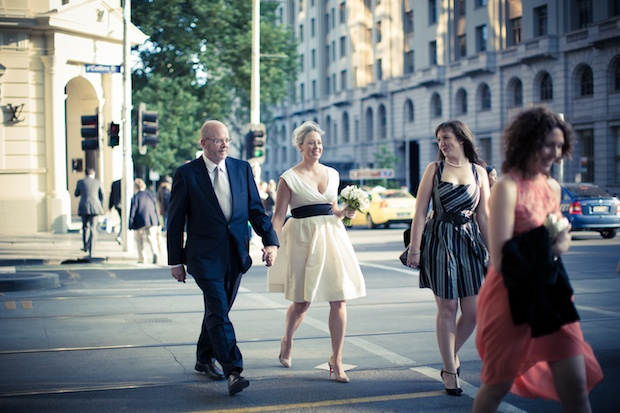Melbourne CBD Wedding - crossing the street - Wedding Photography Melbourne