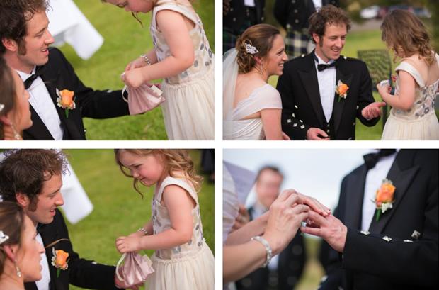 Flowergirl handing over the wedding rings