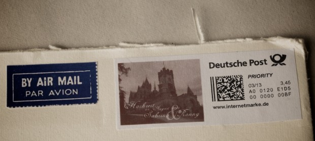 Handmade wedding invite - castle wedding in Europe, Germany