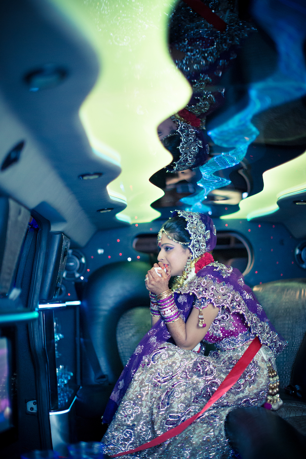 Bride in stretch limo - Hummer