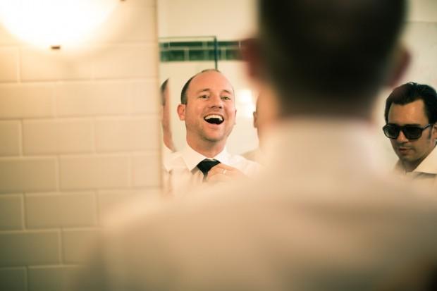groom and groomsmen in the bathroom