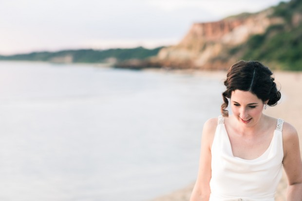 bride at beach