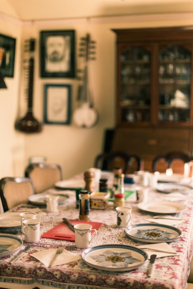 table prepared for pre wedding breakfast - vintage