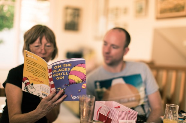 what a beautiful moment - mum reading a Dr Seuss story before the wedding