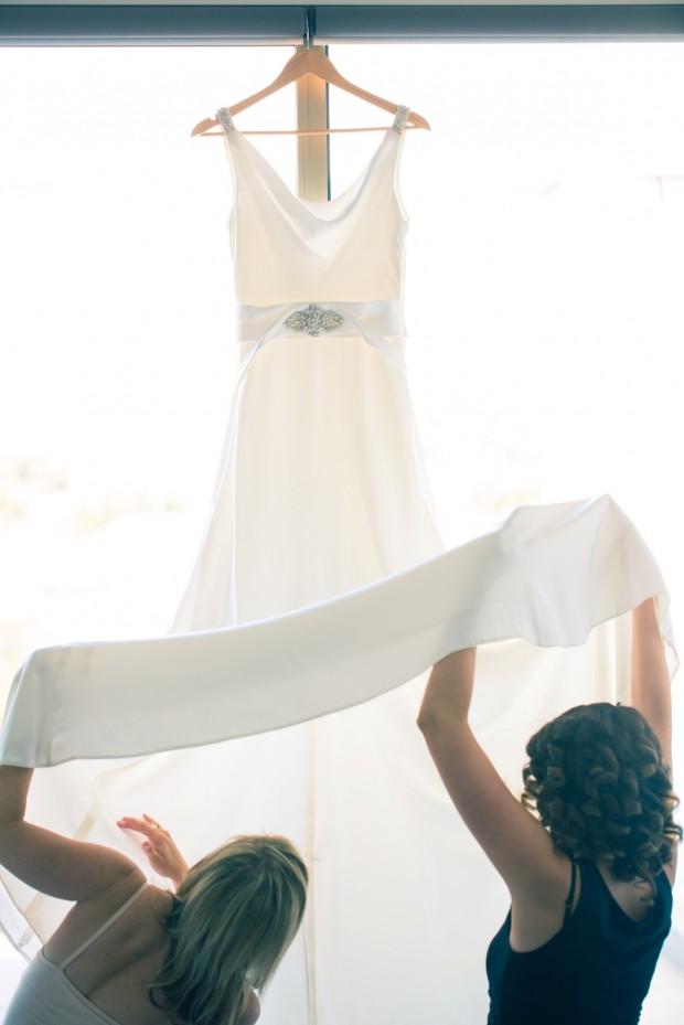 looking under the wedding dress